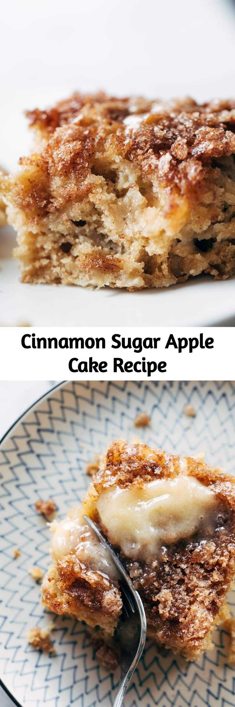 Cinnamon Sugar Apple Cake Recipe - This simple cinnamon sugar apple cake is light and fluffy, loaded with fresh apples, and topped with a crunchy cinnamon sugar layer! #cake #apple #dessert #baking #recipe