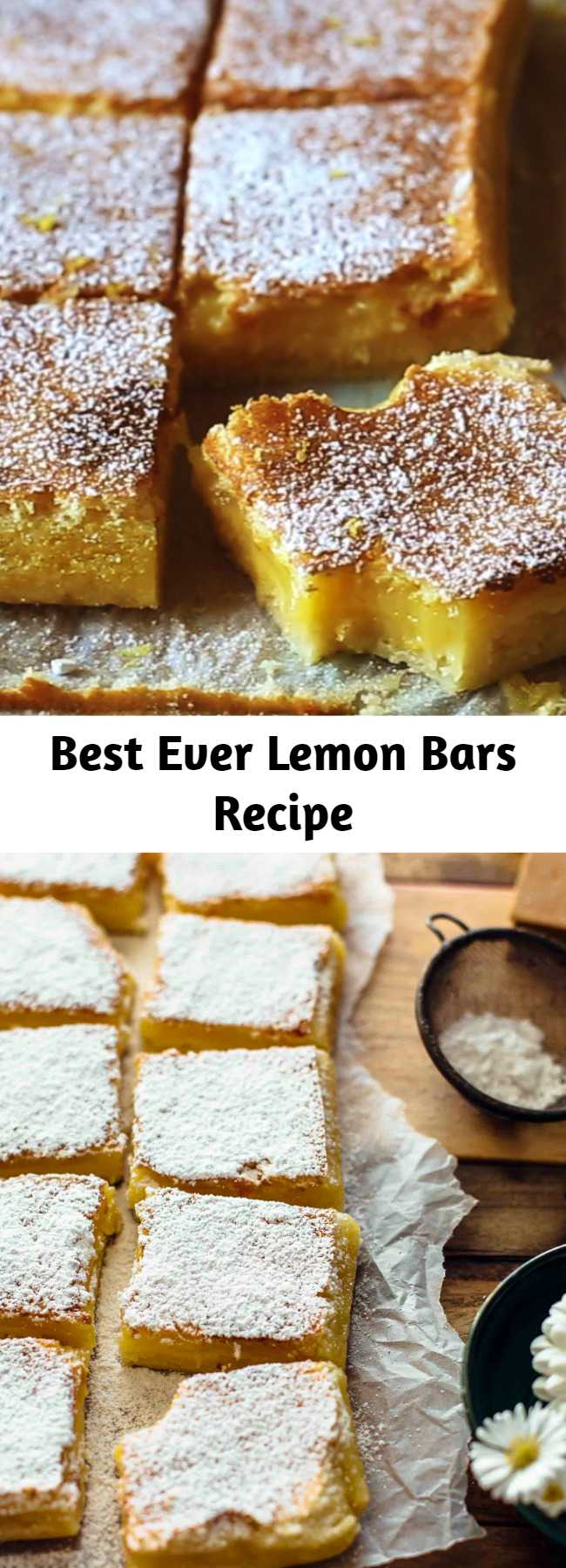 These Lemon Bars are sour and sweet and very easy to make. Buttery shortbread crust meets tangy lemon curd filling. You won't be able to stop eating these. Just 7 ingredients! #lemonbars #lemon #sweets #desserts