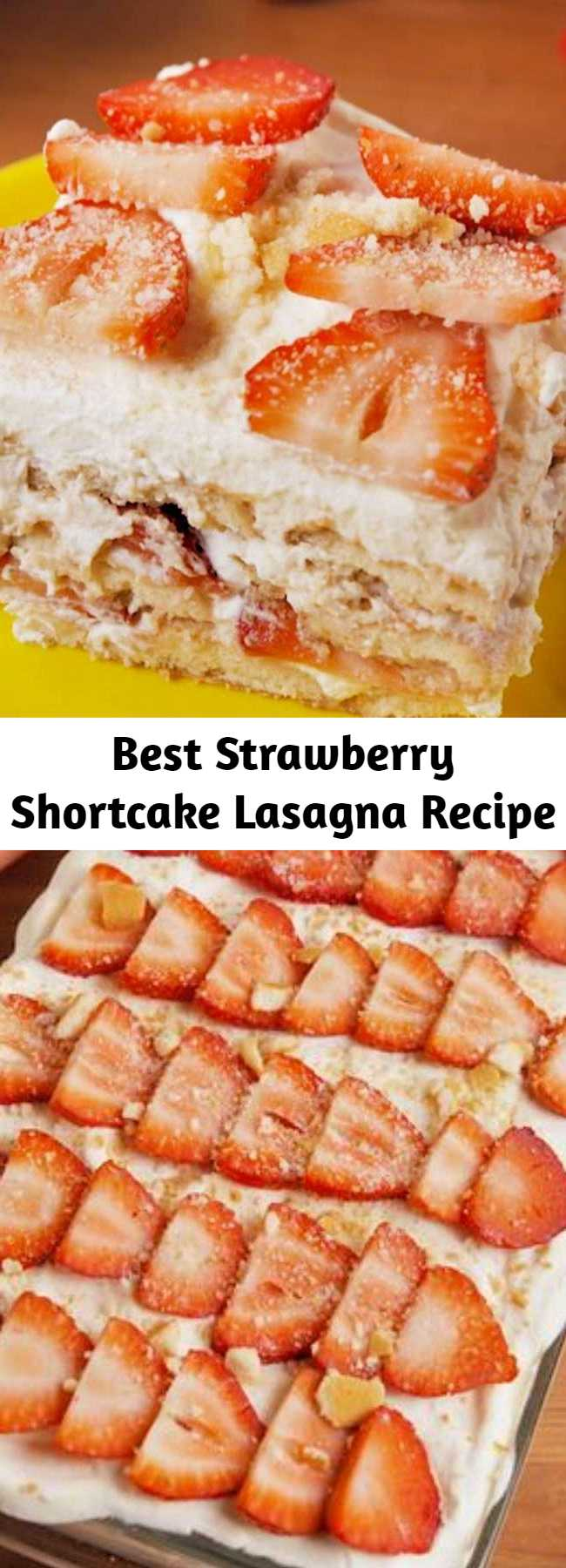 Easy to make, hard to resist. This no-bake Strawberry Shortcake Lasagna is all you need for your springtime party. #easy #recipe #nobake #dessert #dessertrecipe #strawberryshortcake #dessertlasagna #lasagna #nillawafers #coolwhip