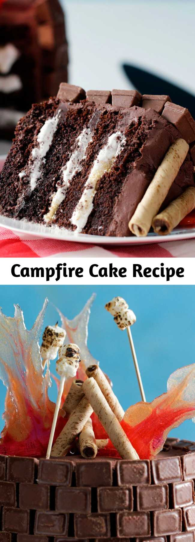 Campfire Cake Recipe - Here's the perfect birthday cake idea for a backyard party or camping party or for those outdoorsy types. This Campfire Cake recipe is sure to light up the birthday camper as well as the other party guests.