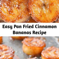 These pan fried cinnamon bananas are so easy to make and taste SO GOOD! They're amazing (seriously AMAZING) on ice cream or pancakes, or just as a snack. Soft and sweet on the inside and caramelized on the outside.