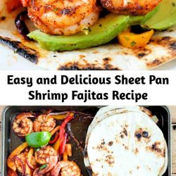 This shrimp fajita recipe is seriously so easy and delicious! All you have to do is scoop the juicy shrimp, tender bell pepper and onions into a soft warm tortilla for a super fast and easy weeknight dinner!