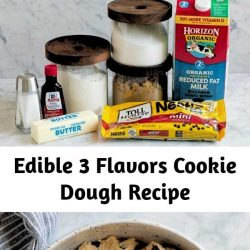 The ultimate cookie dough recipes! Chocolate chip, chocolate, and funfetti. The easiest tastiest treat that you'll want to make again and again! They're even graet for parties, just serve in mini cups. #cookiedough #chocolatechip #chocolate #funfetti