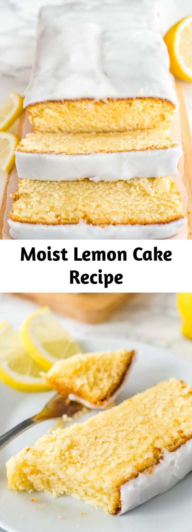 This moist Lemon Cake Recipe is fluffy, tangy and so easy to make from scratch! Every bite of this supremely moist pound cake is bursting with lemon flavor. If you like the Starbucks Lemon Loaf then you'll love this homemade lemon pound cake! #LemonCake #PoundCake