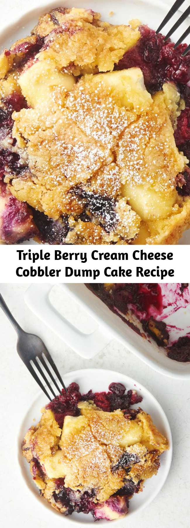 Triple Berry Cream Cheese Cobbler Dump Cake Recipe - When a fresh berry cobbler meets an easy dump cake, the end result is pure magic. Raspberries, blueberries and blackberries get mixed with cream cheese and cake mix for an easy dessert that's no-fuss and totally delicious.