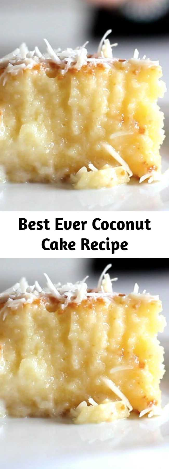 Best Ever Coconut Cake Recipe - A cake with a rich coconut base and grated coconut topping.