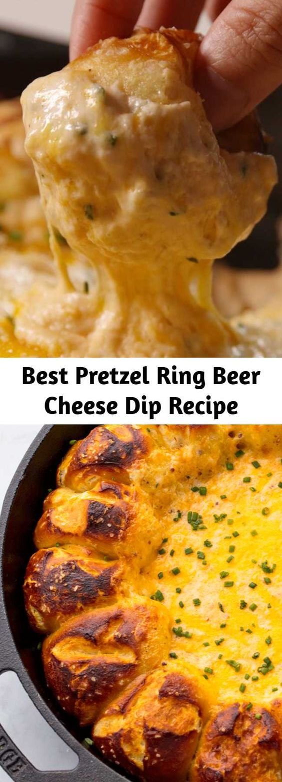 Best Pretzel Ring Beer Cheese Dip Recipe - Looking for an beer cheese dip recipe? This recipe combines cheddar, pale ale, cream cheese, and garlic to make the BEST beer cheese ever. If you want to take it a step further, serve it in a ring of pretzeled store-bought biscuits.