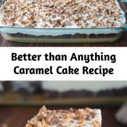 Better than Anything Cake (aka Better than Sex Cake) gets it's name for a reason! Chocolate poke cake with caramel and sweetened condensed milk, topped with fresh whipped cream and heath bits. This recipe is one of our favorite cakes, ever!