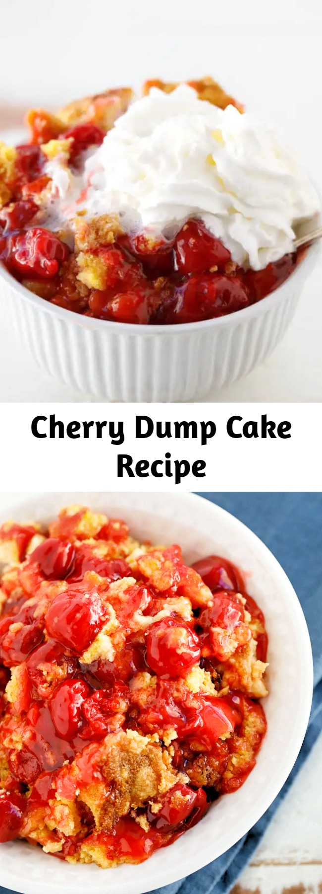 This sweet and delicious cherry dump cake recipe is the perfect simple dessert. Don't forget the scoop of ice cream or whipped cream on top! This is such a wonderful and easy dump cake recipe. I make it all the time! #Easy #Dessert #DumpCake #EasyRecipes