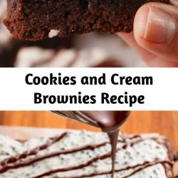 If you ask us, Cookies 'N' Creme candy bars are highly underrated. Even the white chocolate haters on our team can't resist them (because those crunchy chocolate bits are everything). And as it turns out, melting them down makes the perfect frosting for fudgy brownies. Especially when there are WHOLE OREOS stuffed inside. 😏