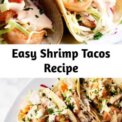 Easy and Healthy Shrimp Tacos with lightly charred tortillas, crisp salt and pepper coated shrimp, crunchy slaw and spicy, creamy shrimp taco sauce! #shrimptacos #easyshrimptacos #shrimptacoswithcabbageslaw
