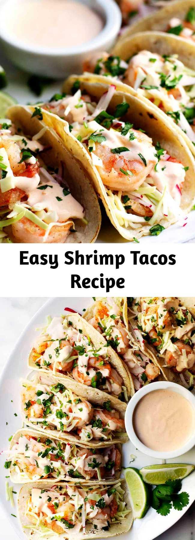 Easy Shrimp Tacos Recipe - Easy and Healthy Shrimp Tacos with lightly charred tortillas, crisp salt and pepper coated shrimp, crunchy slaw and spicy, creamy shrimp taco sauce! #shrimptacos #easyshrimptacos #shrimptacoswithcabbageslaw