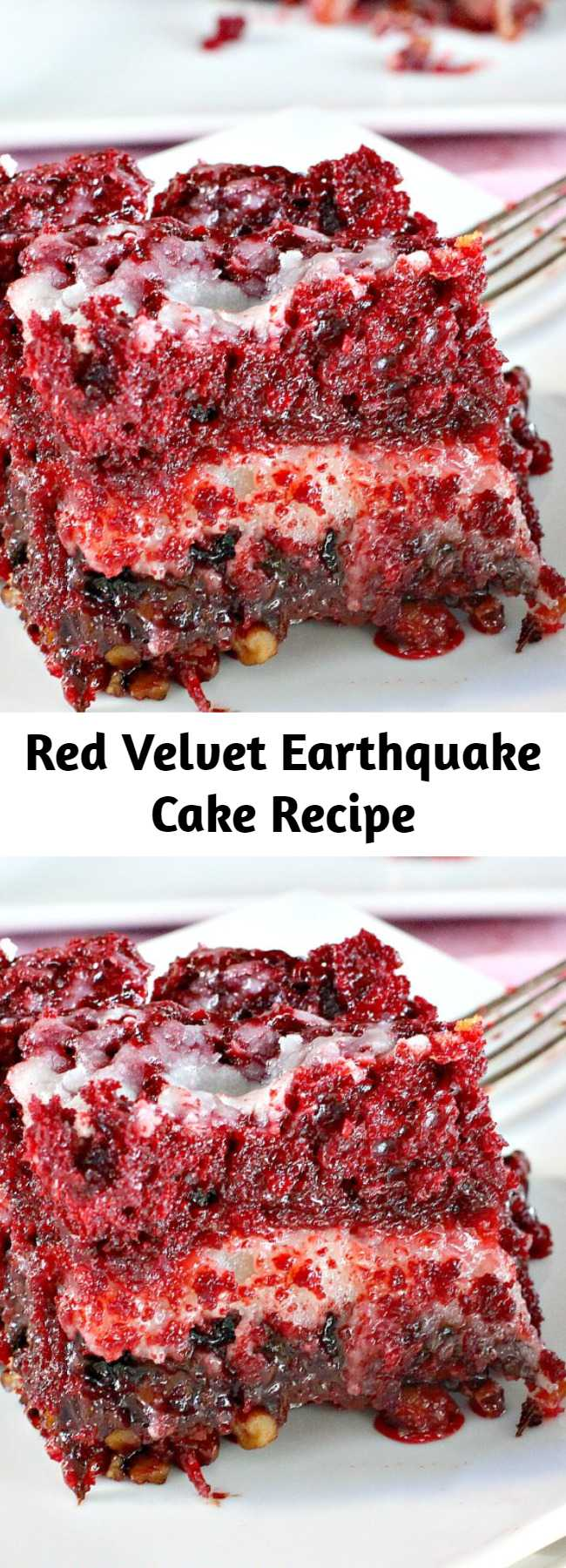 This delectable cake recipe calls for a Red Velvet cake batter and a cheesecake layer over top of pecans, coconut and chocolate chips. While baking the cake undergoes a seismic shift which explains its name. Fabulous for Christmas and Valentine's Day or other holiday baking. It is phenomenal! #dessert #redvelvet #cake #holidays #Christmas #ValentinesDay #chocolate #cheesecake