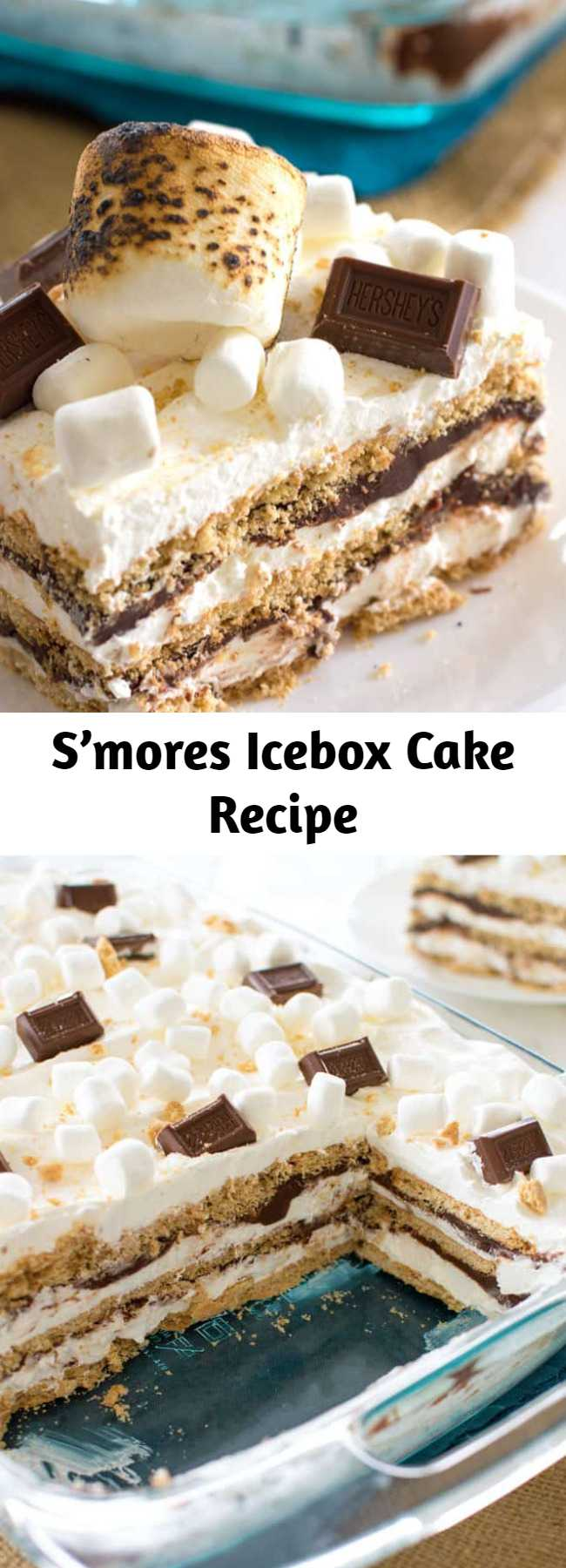 Bring the s'mores indoors with this S'mores Icebox Cake to feed a crowd. With layers of graham crackers, marshmallow whipped cream, and chocolate ganache I guarantee everyone will be clamoring for s'more! #smores #hersheys #iceboxcake #cake #summer #dessert #marshmallows