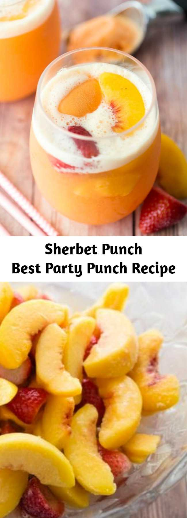 Sherbet punch made with ginger ale, white grape juice, peaches, and strawberries is the best punch recipe ever! Perfect party punch for your next baby shower, wedding shower, summer party, or random Tuesday afternoon!
