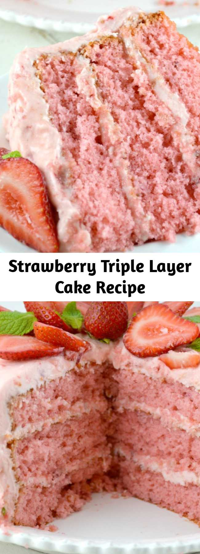 Our Easy Strawberry Triple Decker Cake Recipe is an absolute showstopper. Loaded with Fresh Strawberries, this Homemade Southern Delight is guaranteed to be a hit! Super Moist, Rich and Really Sweet, all topped with Strawberry Buttercream Frosting!!