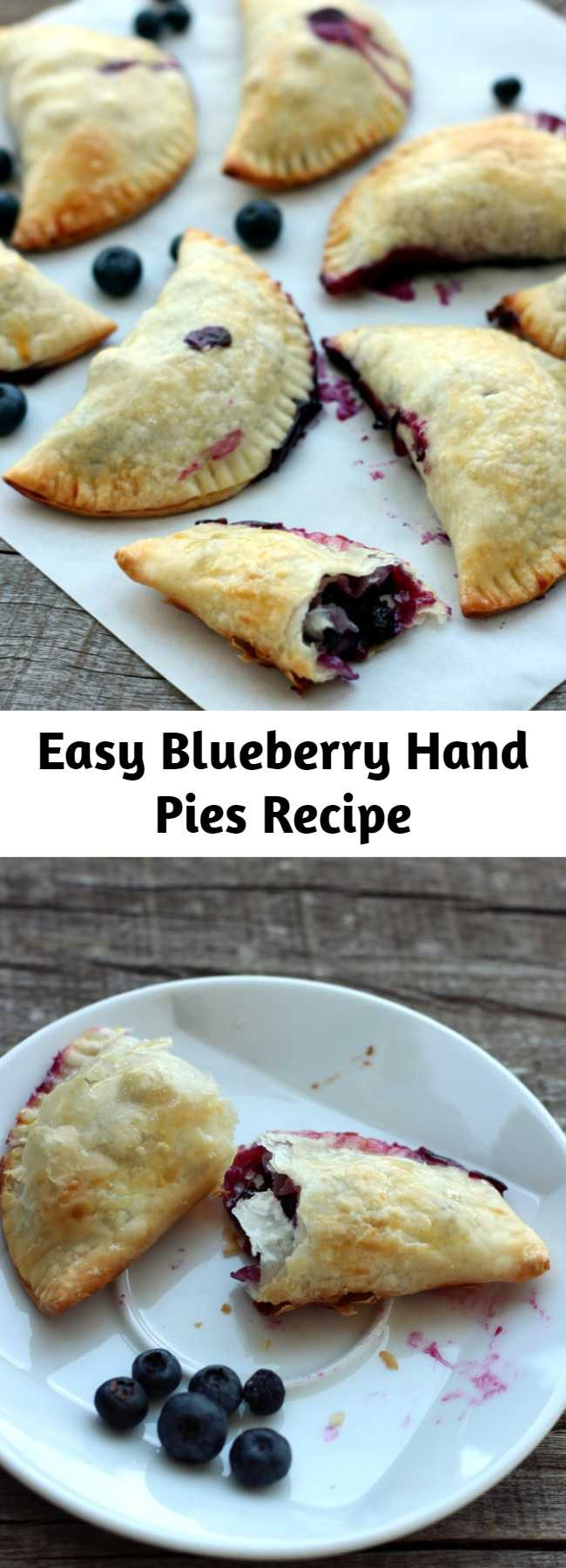 Easy Blueberry Hand Pies Recipe - A flaky, crispy crust on the outside and warm blueberries spilling with their juices inside – definitely a keeper and a quick fix for afternoon tea.