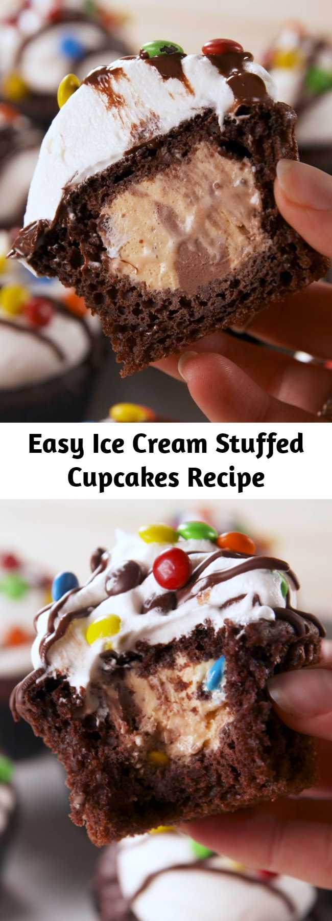 Easy Ice Cream Stuffed Cupcakes Recipe - These Ice Cream Stuffed Cupcakes are made with moist chocolate cupcakes stuffed with ice cream and topped with whipped cream, chocolate and sprinkles! Such a great summer treat with so many flavor possibilities! #icecream #summer #dessert #summerdessert