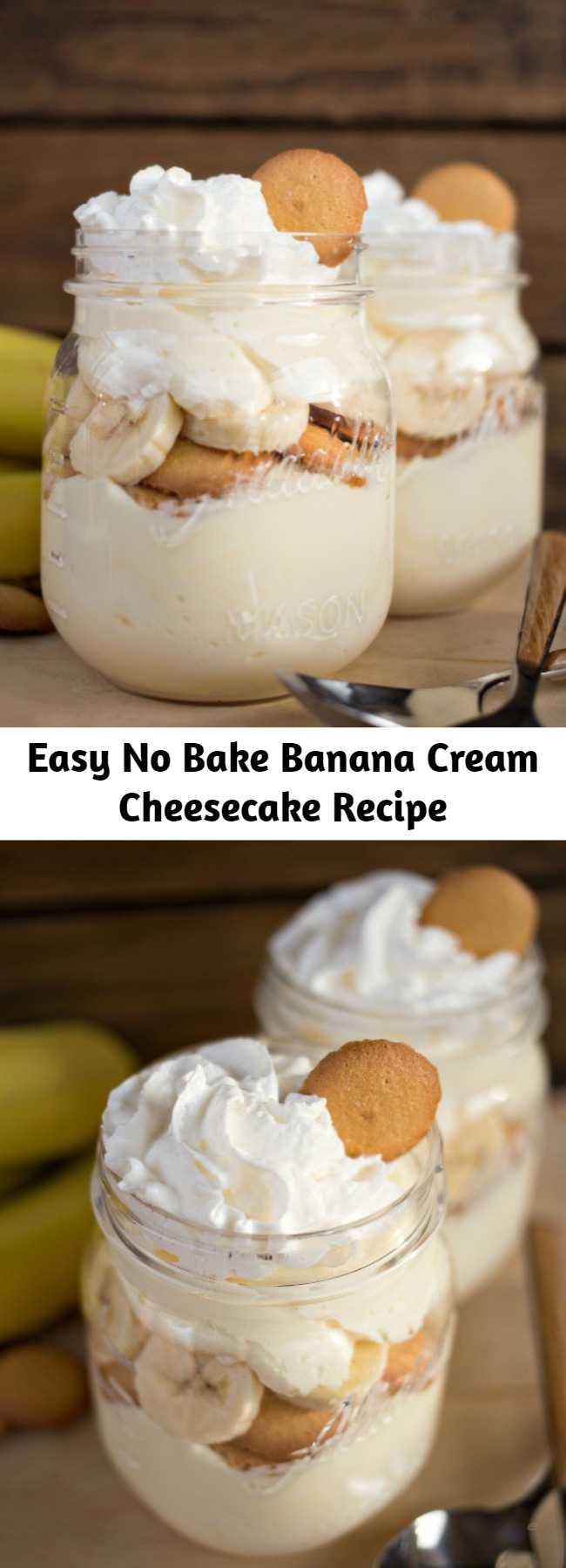 Easy No Bake Banana Cream Cheesecake Recipe - A delicious no-fuss, easy dessert that will have you enjoying your favorite Banana Cream Pie flavors in just minutes!