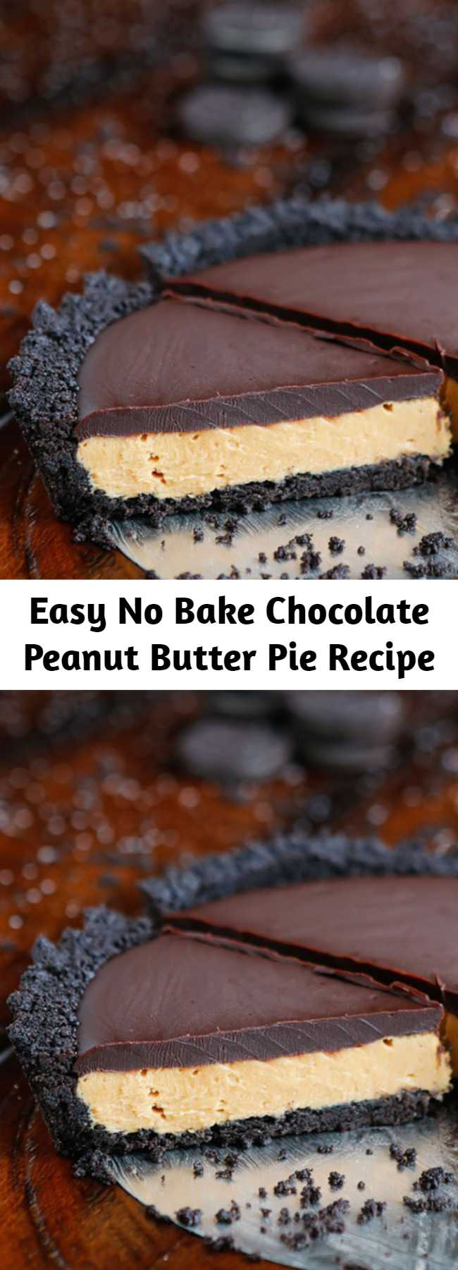 Easy No Bake Chocolate Peanut Butter Pie Recipe - This Peanut Butter Pie recipe is OUT of this world!! This is hands down one of the easiest, most impressive desserts I've ever made. There's only six simple ingredients — it's the best no bake peanut butter pie ever!
