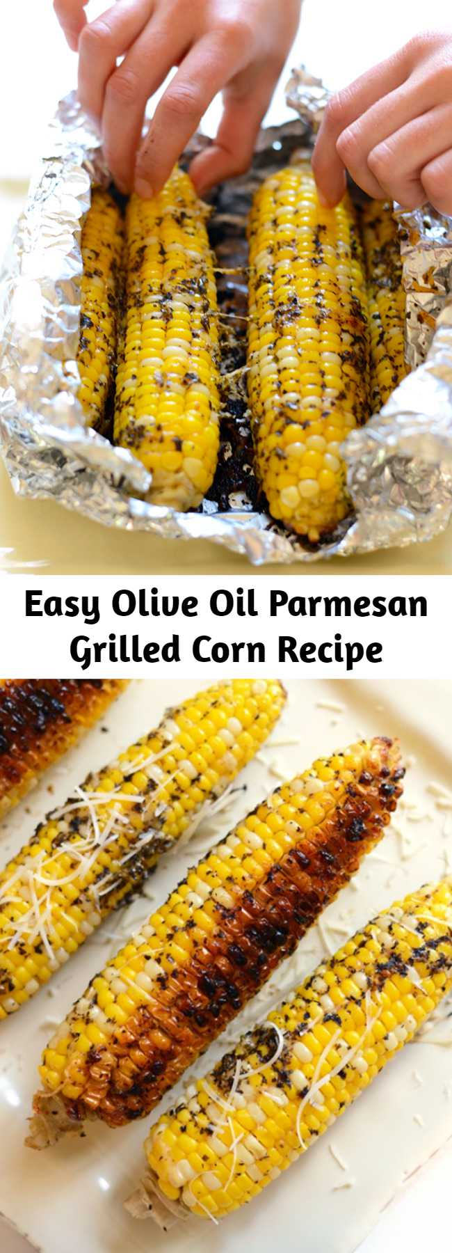 Easy Olive Oil Parmesan Grilled Corn Recipe - This grilled corn on the cob isn't your average summertime side. Spice up this recipe with olive oil and parmesan cheese for the most flavorful, EASY summertime corn on the cob that can be made right on your grill!