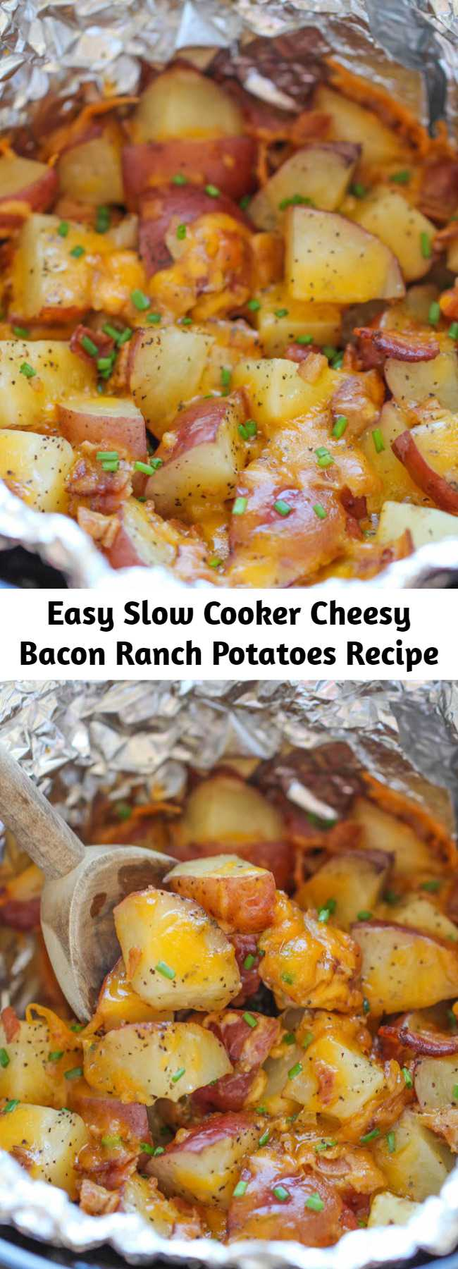 Easy Slow Cooker Cheesy Bacon Ranch Potatoes Recipe - The easiest potatoes you can make right in the crockpot – perfectly tender, flavorful and cheesy!