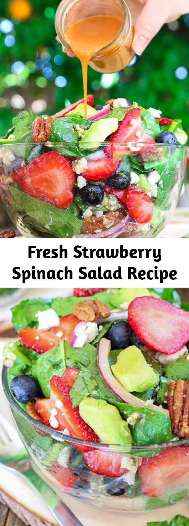 Fresh Strawberry Spinach Salad Recipe - Best Ever Strawberry Spinach Salad will rock your world! This simple recipe is a celebration of summers bounty in the most spectacular salad you will ever eat. Fresh crisp spinach salad is taken to another level with bursts of sweetness from fresh summer fruit and buttery avocado. It is tossed in a sweet and tangy vinaigrette and topped with crunchy nuts and creamy cheese. #salad #strawberry