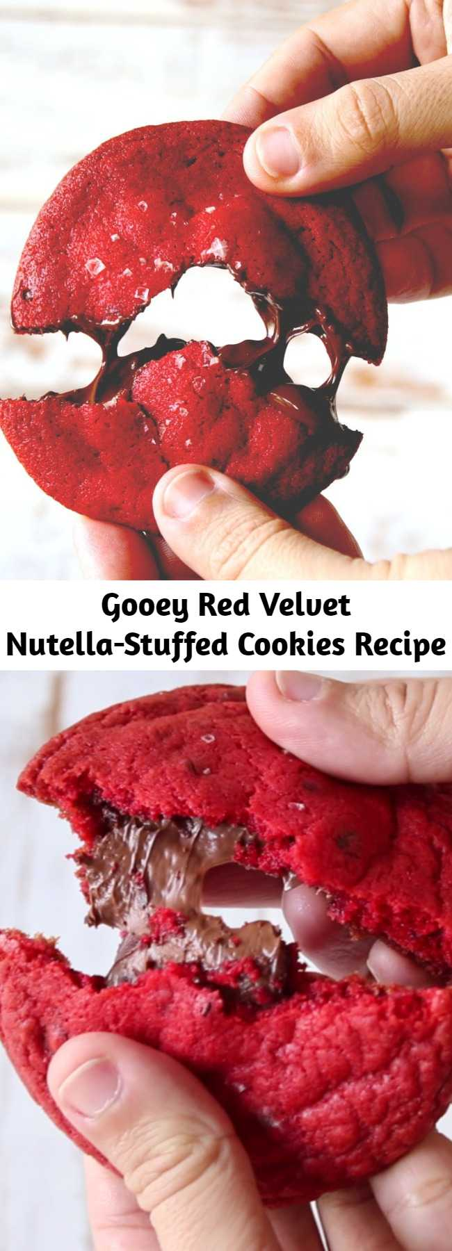Gooey Red Velvet Nutella-Stuffed Cookies Recipe - Red velvet cookies are even better when they're stuffed with warm melted Nutella. Oh baby! You won't be able to stop at one. So rich and gooey, they speak for themselves.