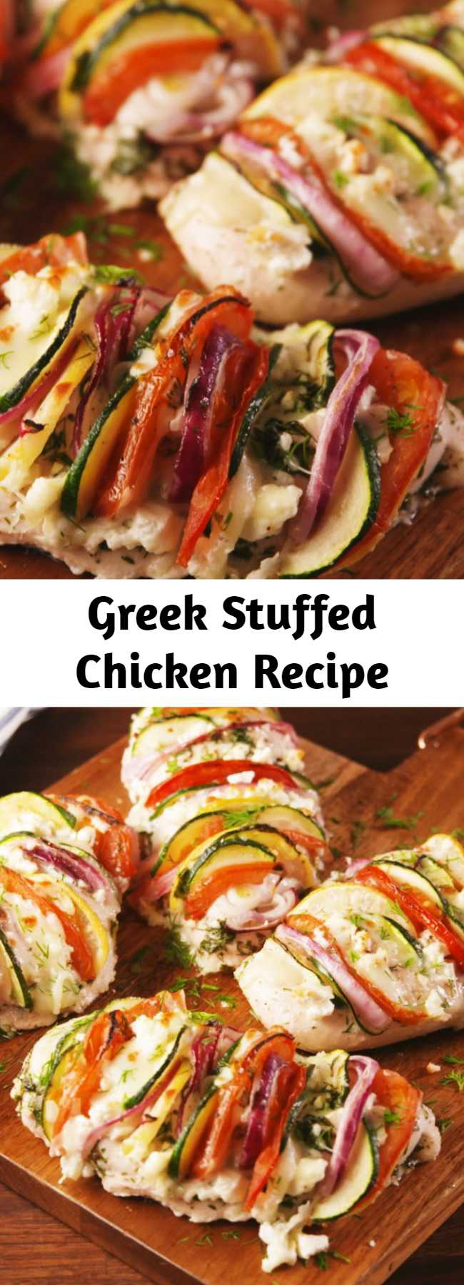 Greek Stuffed Chicken Recipe - You'll Greek out over this. #food #lowcarb #gf #glutenfree #healthy