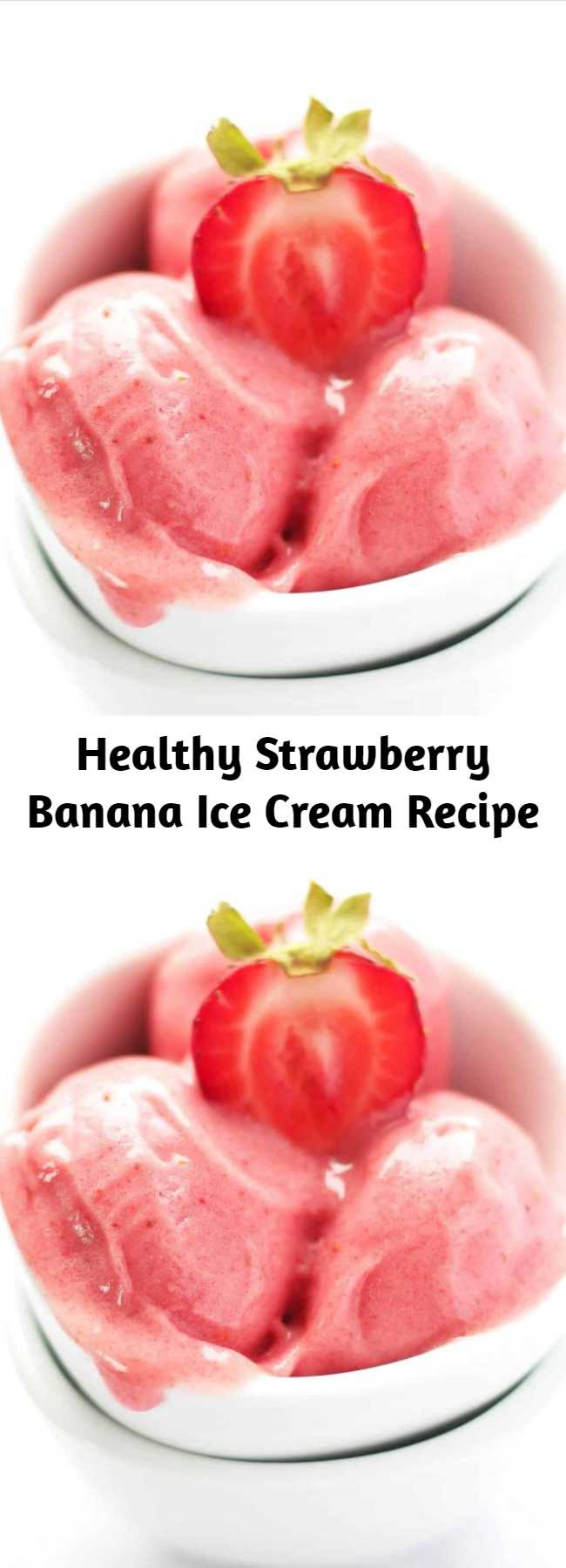 Healthy Strawberry Banana Ice Cream Recipe - If you are looking for a healthy frozen treat, you HAVE to learn how to make this simple 2 ingredient Strawberry Banana Ice Cream at home. It is clean eating, dairy free, vegan, paleo and requires no added sugar. Kids love this homemade strawberry ice cream and it is a great recipe to get them involved in the process. #icecream #summer #dessert #healthy #vegan