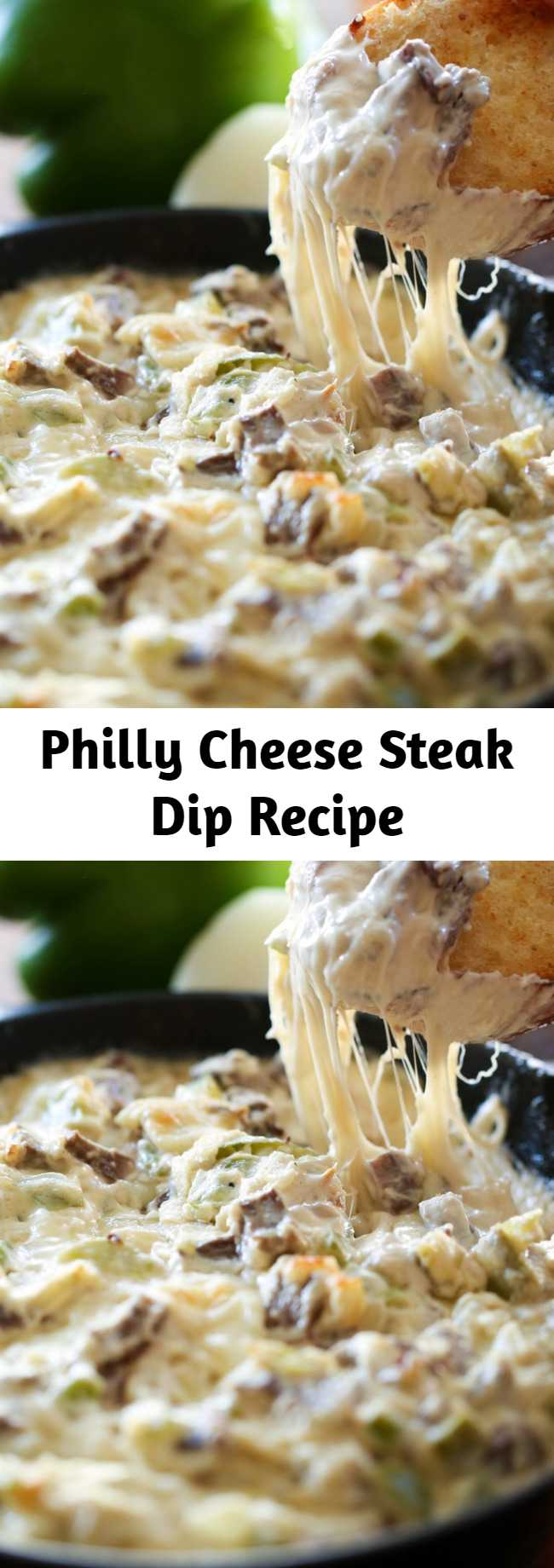 Philly Cheese Steak Dip Recipe - This Philly Cheese Steak Dip is phenomenal and truly tastes JUST like you are biting into that beloved and well sought-after sandwich. The flavor is incredible and this recipe is super unique and exciting!