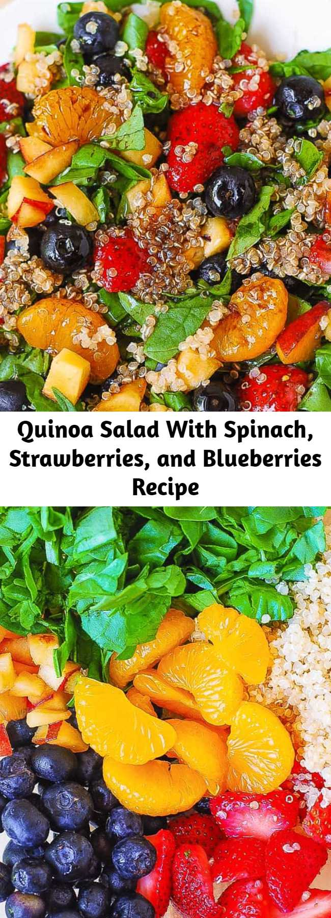 Quinoa Salad With Spinach, Strawberries, and Blueberries Recipe - Delicious Summer salad: Quinoa salad with spinach, strawberries, blueberries, peaches, mandarin oranges in a homemade Balsamic vinaigrette dressing. The dressing is made from scratch, using olive oil, balsamic vinegar, brown sugar, mustard powder, onion and garlic powders. This healthy quinoa salad is gluten free, dairy free, vegan, nut free, packed with fiber and nutrients.