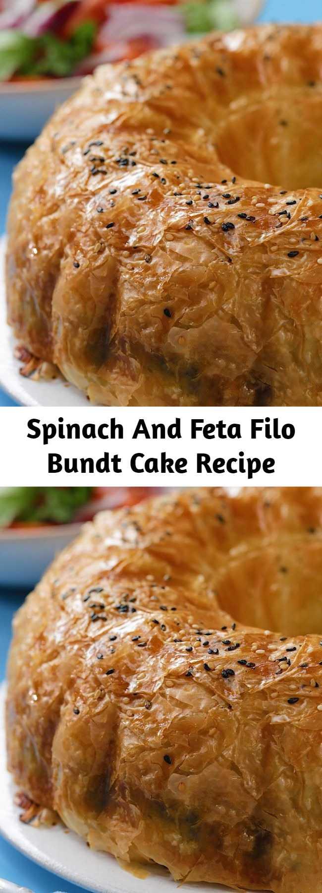 Spinach And Feta Filo Bundt Cake Recipe - This spinach and feta bundt cake is the perfect sharing dish!