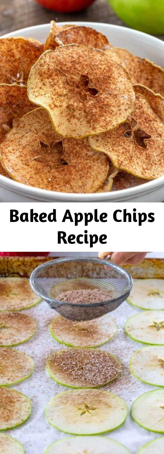 Baked Apple Chips Recipe - Chose your favorite apple variety to make these simple and healthy baked cinnamon apple chips! Cinnamon enhances the flavor while cutting the apples into thin slices, and baking at a low oven temperature for a few hours ensures super crispy chips. These crisp apple chips are delicious and addicting, without the guilt!