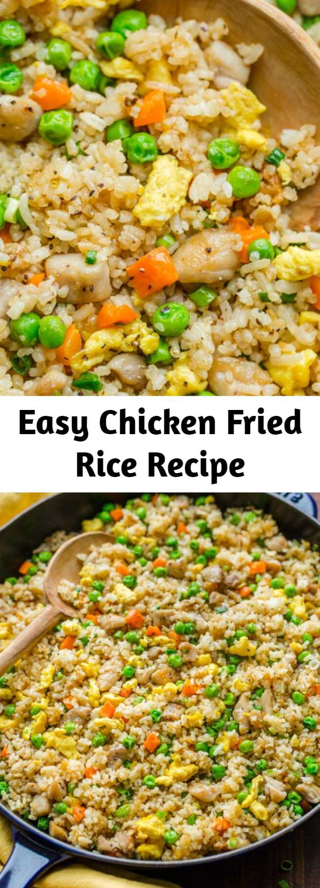 Easy Chicken Fried Rice Recipe - Chicken Fried Rice is one of our go-to EASY 30-minute meals. Fried Rice is perfect for meal prep and a genius way to use leftovers. It's actually even better with leftover rice. #chickenfriedrice #friedrice #chickenrecipes #30minutemeals #rice #friedricerecipe