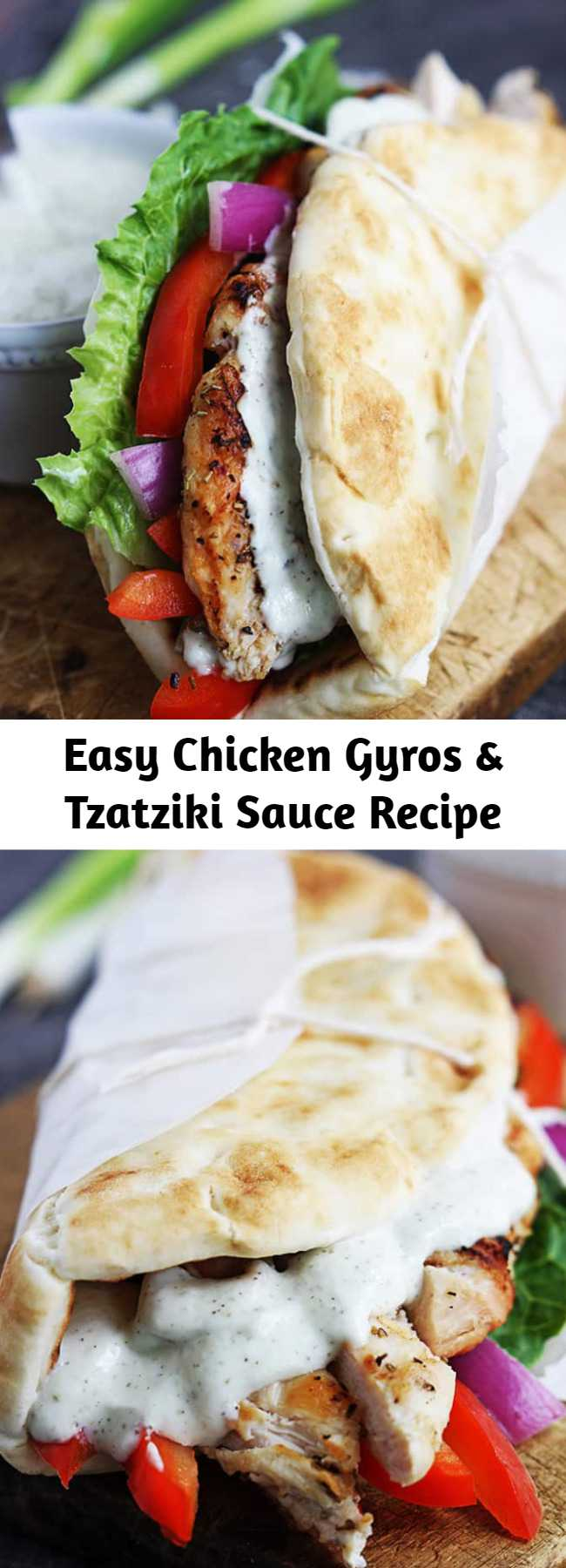 Easy Chicken Gyros & Tzatziki Sauce Recipe - Quick Greek-style chicken gyros you can whip up on busy nights in just 20 minutes, these are a family favorite!