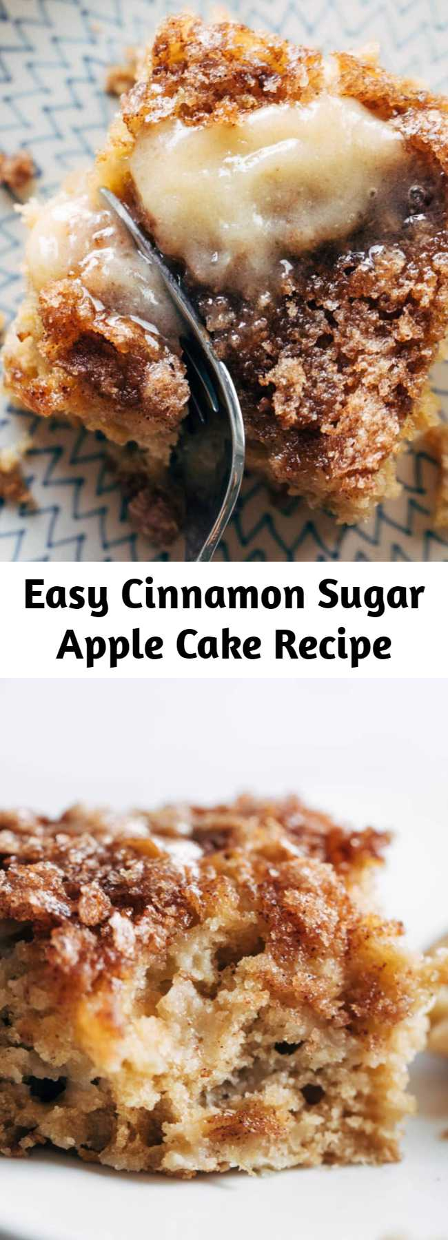 Easy Cinnamon Sugar Apple Cake Recipe - This simple cinnamon sugar apple cake is light and fluffy, loaded with fresh apples, and topped with a crunchy cinnamon sugar layer! It's low maintenance, highly snackable, and 100% as warming, fragrant, and cozy a basic apple cake should be.  #cake #apple #dessert #baking #recipe