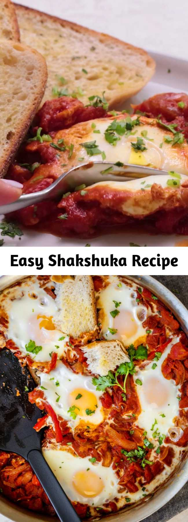 Easy Shakshuka Recipe - This Shakshuka Recipe is a popular Middle Eastern breakfast that is basically poached eggs in a spicy tomato sauce - it's vegetarian, easy and healthy! #breakfast