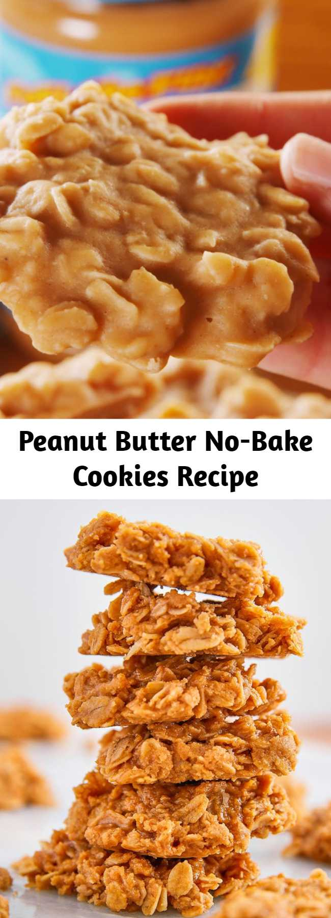Peanut Butter No-Bake Cookies Recipe - Loaded with sweet-salty peanut butter and chewy oats, these cookies are perfect for when you're craving dessert but don't have the time or patience to wait for your oven to preheat. The texture is a bit more fudgy than your average cookie, and WE'RE OBSESSED. #easy #recipe #nobake #oatmeal #peanut #peanutbutter #butter #PB #healthy #salt #vanilla