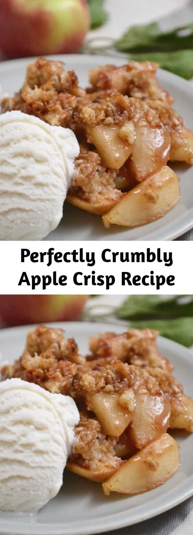 Perfectly Crumbly Apple Crisp Recipe - The topping on this apple crisp is packed with buttery, sugary, crumbly goodness. Apple crisp is the perfect fall dessert. Recipe includes modifications for different types of apples.
