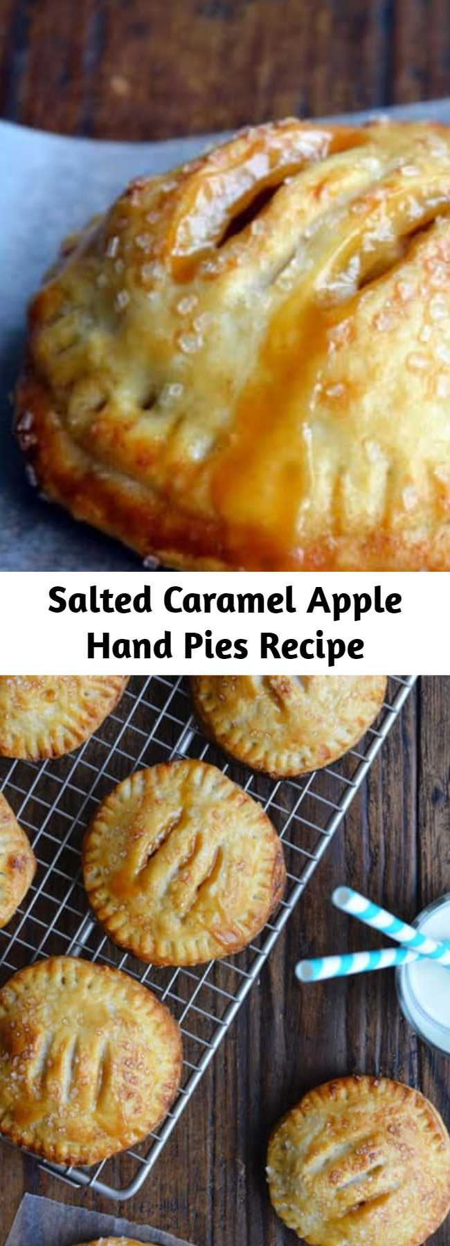 Salted Caramel Apple Hand Pies Recipe - A pinch of sea salt lends a savory balance to these handheld treats that ooze fresh fruit flavor and silky smooth caramel. It's the dynamic dessert duo, and it's all wrapped up in finger-friendly package. No forks, no plates, no sharing required!