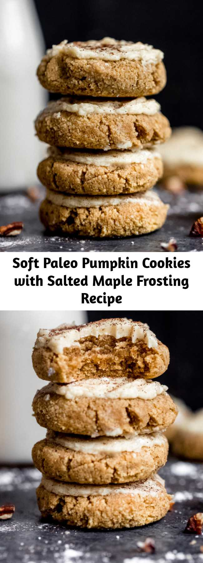 Soft Paleo Pumpkin Cookies with Salted Maple Frosting Recipe - These healthy soft pumpkin cookies with an addicting salted maple frosting are absolutely delicious! These melt-in-your-mouth cookies are both gluten free and grain free and taste like a slice of your favorite pumpkin pie! #cookies #pumpkin #pumpkinrecipe #healthydessert #glutenfree #baking #grainfree