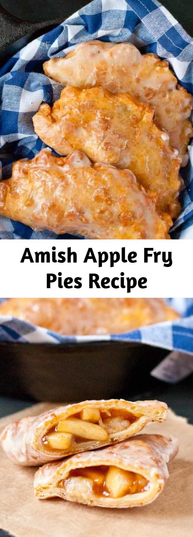 Amish Apple Fry Pies Recipe - These Amish Apple Fry Pies are irresistible. The filling is simple with just a hint of spice. The crust is tender and flaky and just a little crunchy. And the glaze? It dries into a crackly sweet coating that seals in all the goodness.