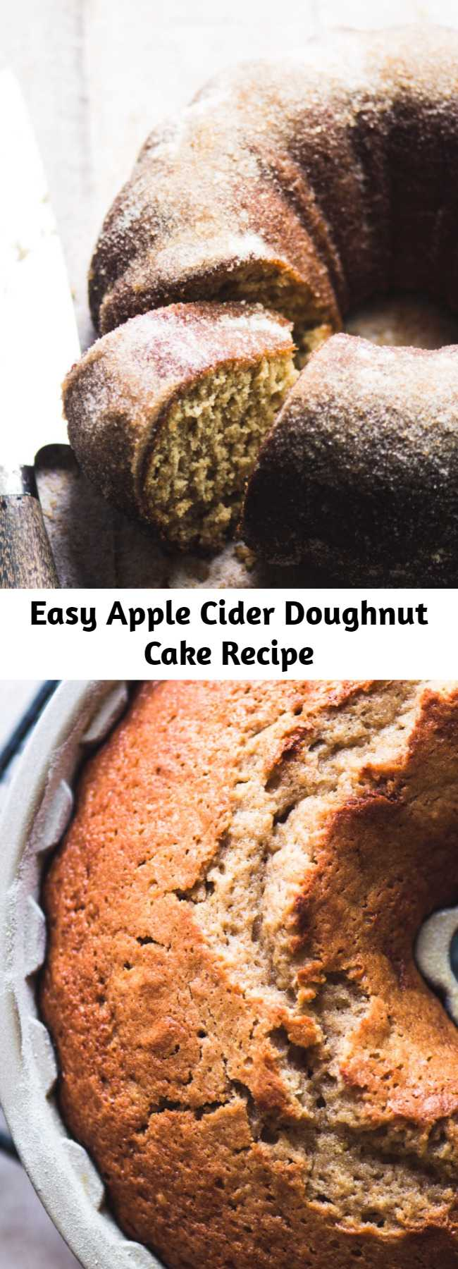 Easy Apple Cider Doughnut Cake Recipe - A warm cinnamon apple cider cake that tastes just like Fall's iconic apple cider doughnuts. It's basically everything you love about the season, baked up in a bundt pan. #easy #recipe #cake #ciderdoughnuts #poundcake #bundtcake #applecake #best #dessert #fallrecipe #fall #apples #bundt #coffeecake #brunch