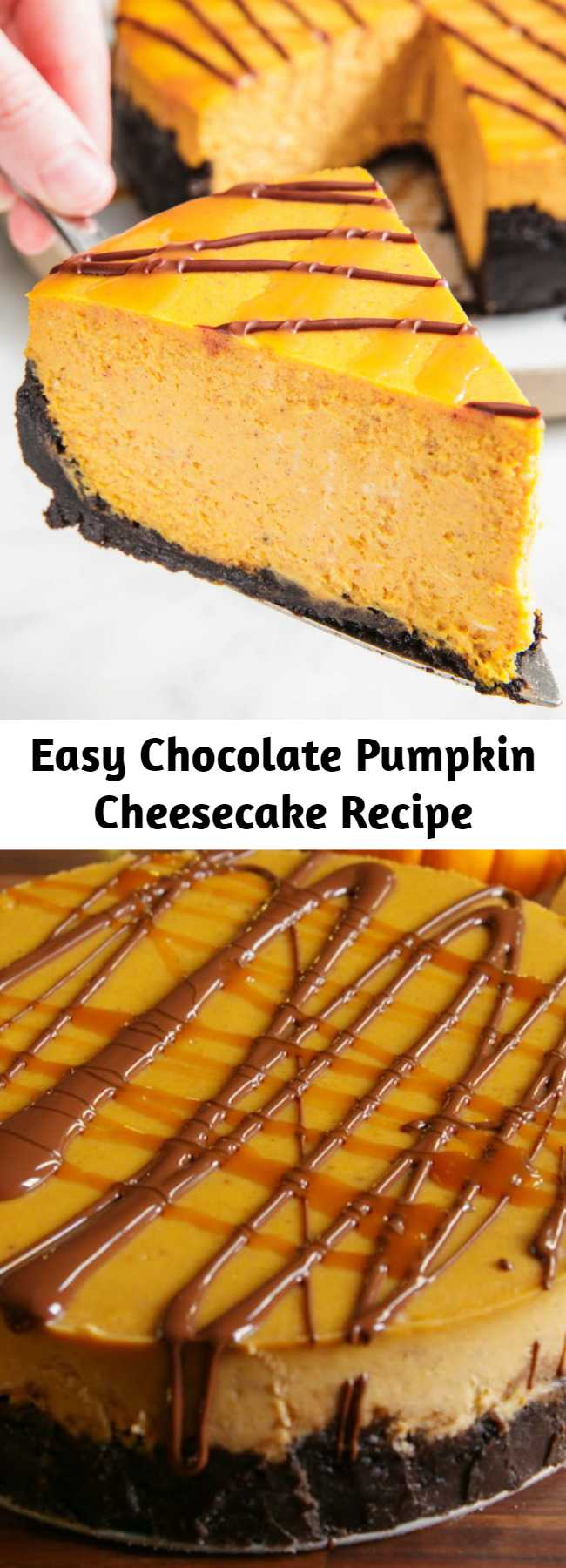 Easy Chocolate Pumpkin Cheesecake Recipe - Looking for an easy pumpkin dessert to make this Thanksgiving? This creamy pumpkin cheesecake with an Oreo crust is sure to impress. And we've got tons of cheesecake baking tips—like how to prevent your cheesecake from cracking—to set you up for success.