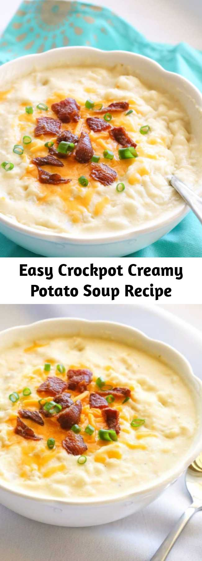 Easy Crockpot Creamy Potato Soup Recipe - This Crockpot Creamy Potato Soup couldn't be any easier. It's cooked all day in the slow cooker and is great for a cold day. Top with bacon, cheese, and green onions for the ultimate potato soup. This soup is versatile – add broccoli or ham to give it a twist. This will become your go-to crockpot potato soup recipe.