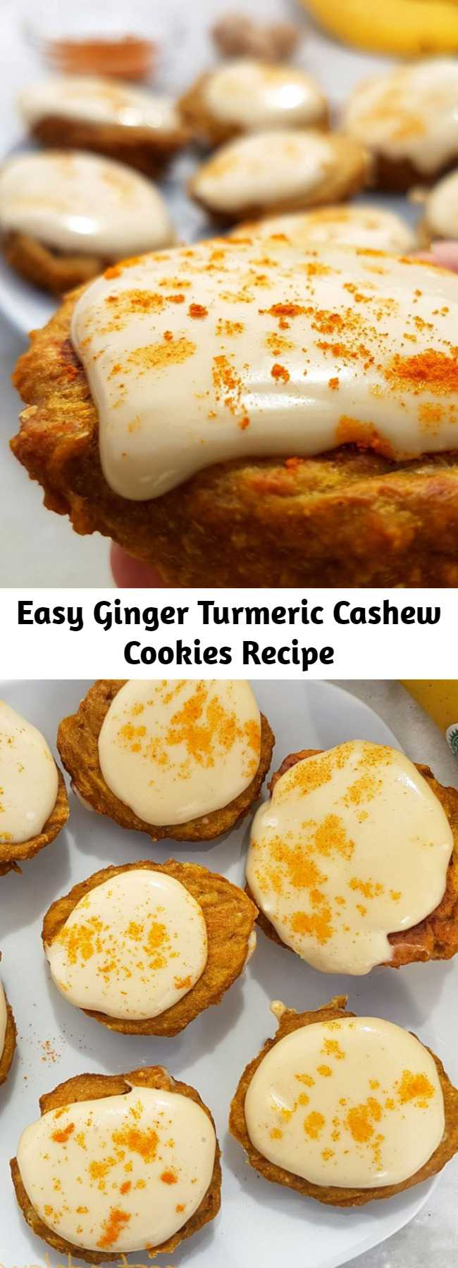 Easy Ginger Turmeric Cashew Cookies Recipe - Quick and easy healthy cookies recipe. These golden cookies are ginger and turmeric flavour with a creamy cashew frosting. Vegan and gluten free when made with gluten-free oats. #vegan #veganrecipe #healthy #cookies #healthycookies