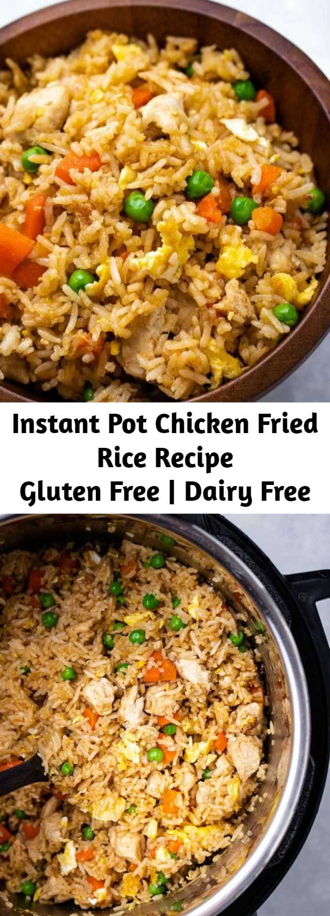 Instant Pot Chicken Fried Rice Recipe - Instant Pot Chicken Fried Rice is a fast and easy one-pot meal. With simple ingredients like rice, chicken, egg, carrots and peas, your family will love this savory recipe! Perfect for a weeknight dinner or meal prep lunch!