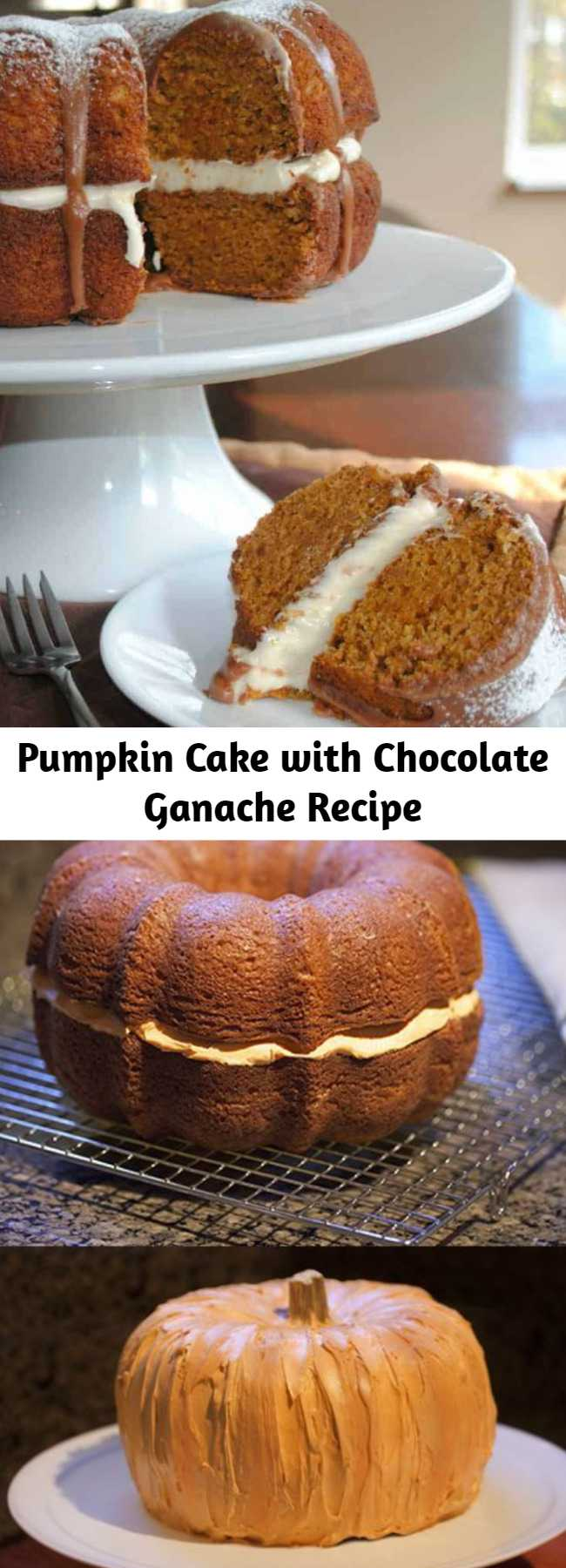 Pumpkin Cake with Chocolate Ganache Recipe - It's so rich and moist! Paired with the cream cheese frosting and chocolate ganache, you just can't go wrong. So go do something right and have a slice of cake!!! Enjoy!