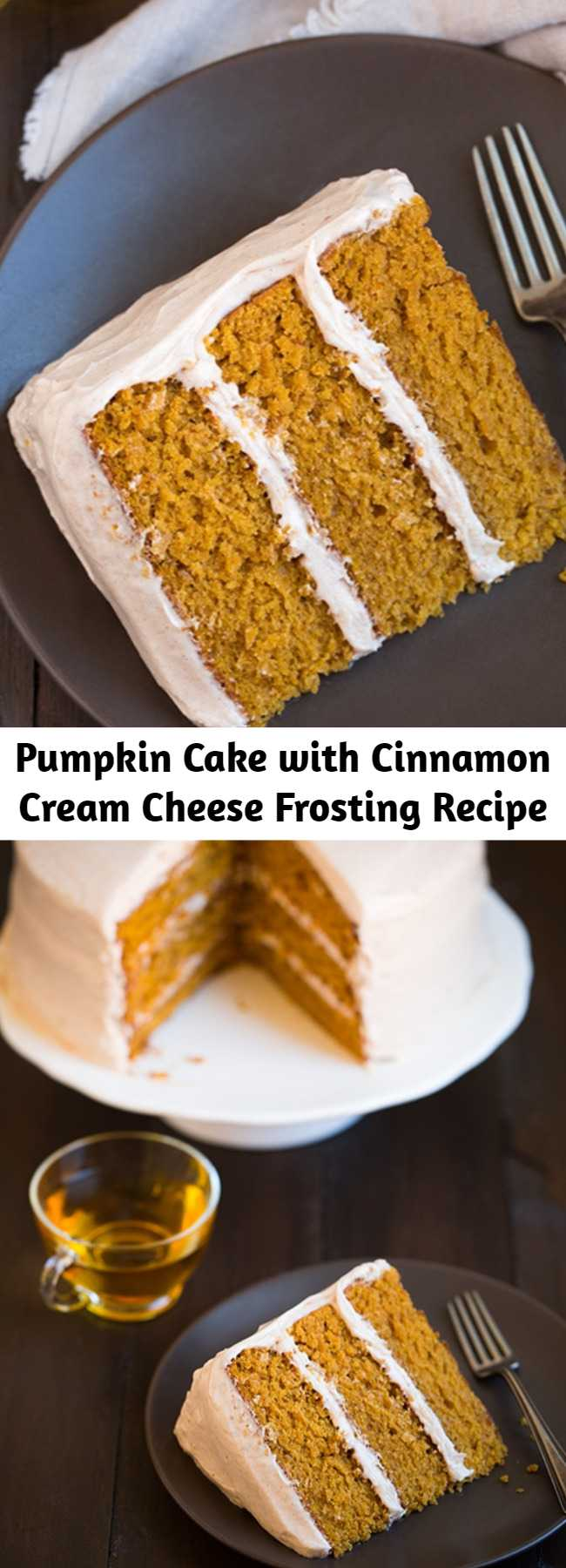 Pumpkin Cake with Cinnamon Cream Cheese Frosting Recipe - The tastiest pumpkin cake! It's soft and moist with just the right amount of pumpkin and spice, and it's finished with the best frosting! This is one of my favorites! Melt-in-your-mouth delicious!!